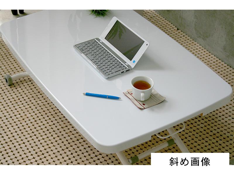 昇降式テーブルホワイト斜め画像
