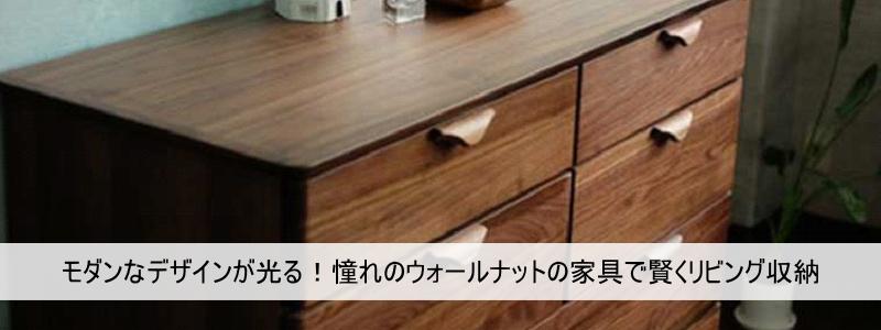 モダンなデザインが光る!憧れのウォールナットの家具で賢くリビング収納